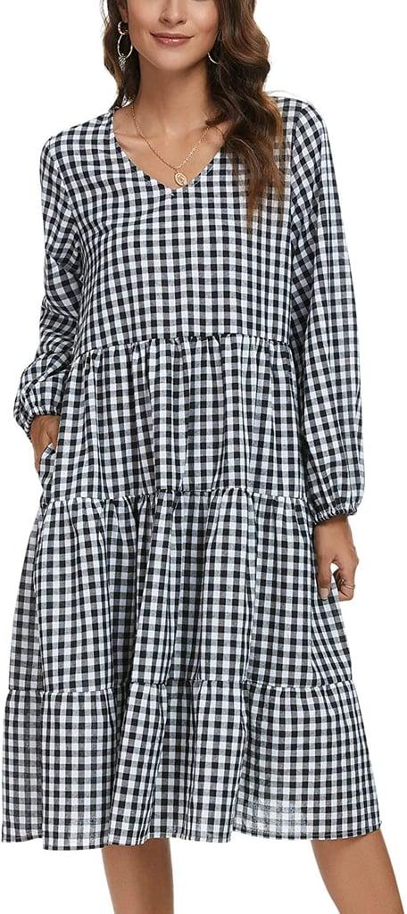 Tivanna V Neck Plaid Dress