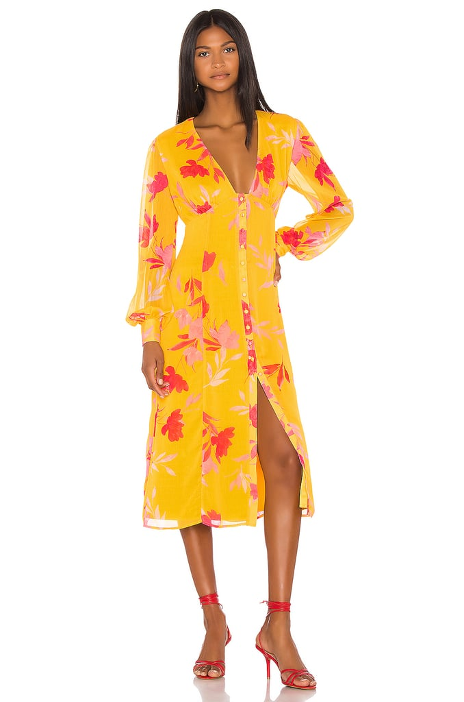 Song of Style Kofi Midi Dress in Yellow Floral from Revolve.com