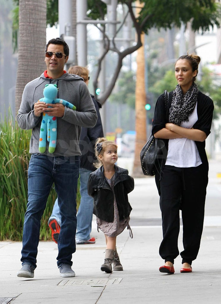 Jessica Alba, Cash Warren, and their daughter Honor grabbed breakfast at Nate's in Beverly Hills on Saturday. The family was missing their newest member, baby Haven, during the outing. Honor was left to bring the cuteness solo, wearing an adorable mini leather jacket and matching her mom's high-ponytailed hairstyle. Cash is back in LA with his girls following a trip to NYC to attend the Clinton Global Initiative last week. He returned in time to kick off the weekend with his wife at a Twin Shadow show on Friday, and they were back out for more couple's time at Whole Foods yesterday.