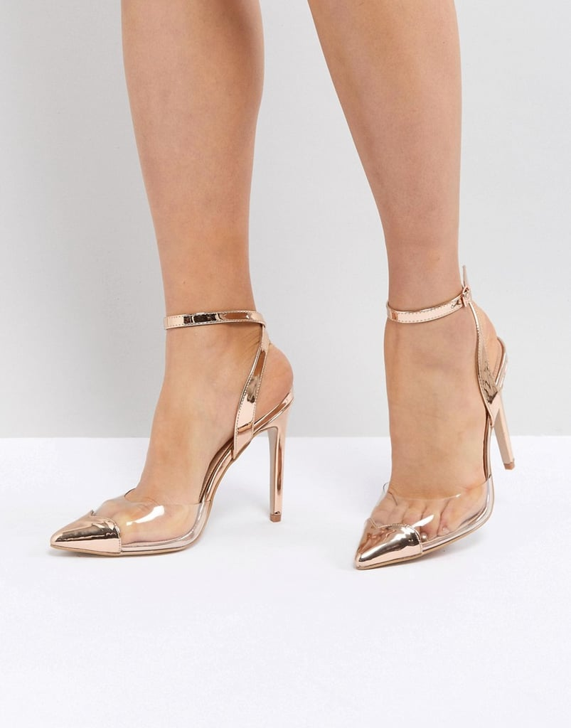 Public Desire Heart Throb Rose Gold Clear Detail Pumps