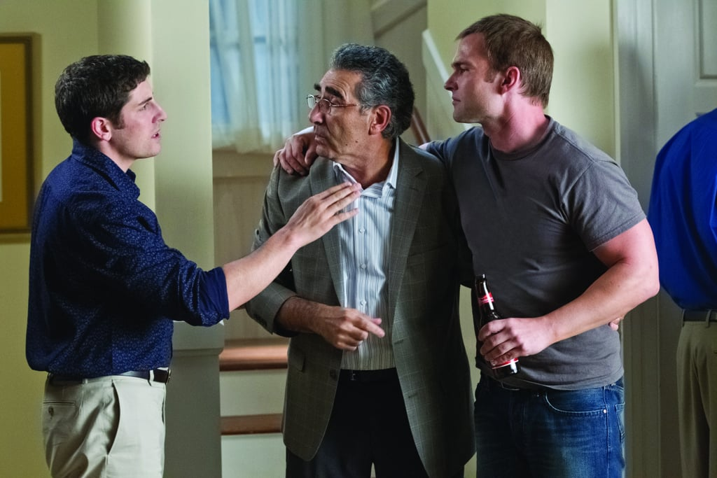 Eugene Levy as Jim's dad, Jason Biggs as Jim, and Seann William Scott as Stifler in American Reunion.  Photo courtesy of Universal Pictures