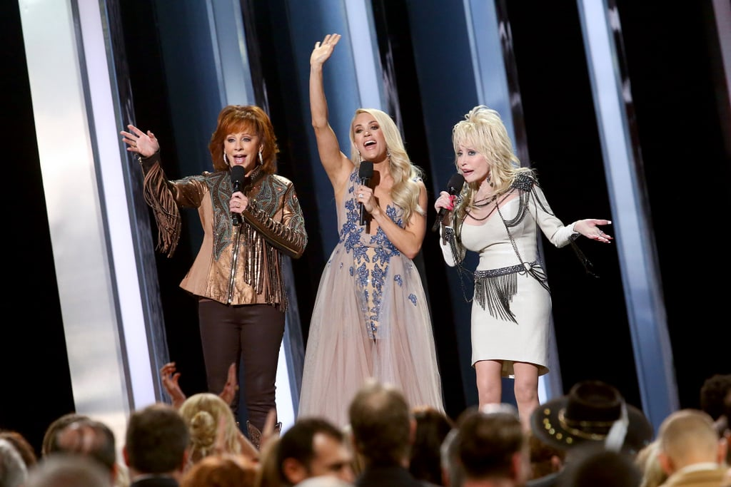 Reba McEntire, Carrie Underwood, and Dolly Parton at the 2019 CMA Awards