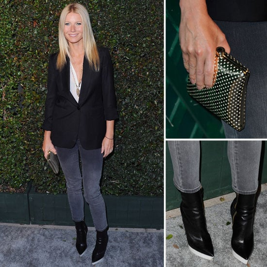 The look: Gwyneth Paltrow opted for a more minimalist take on evening attire, donning head-to-toe Stella McCartney for the My Valentine premiere. She paired a simple white tee with a black boyfriend blazer and skinny ombré jeans. To complement the look, she added a Stella McCartney perforated box clutch, Fall '12 ankle boots with white platforms, and a gem-encrusted statement necklace.  Key pieces: Black boyfriend blazer, white t-shirt, and faded black jeans.