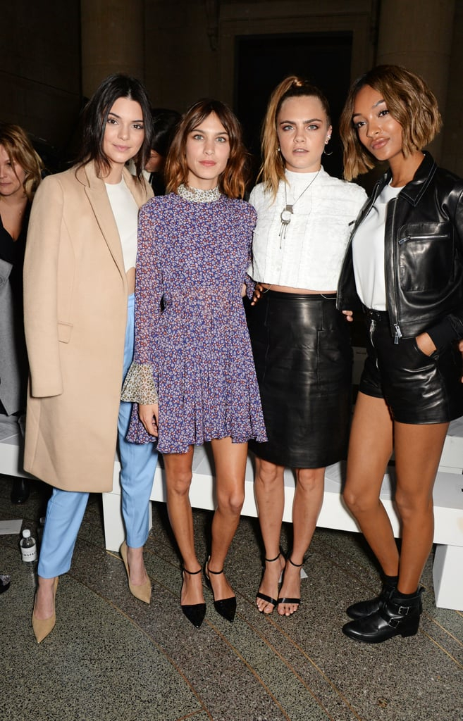 Kendall Jenner, Alexa Chung, Cara Delevingne, and Jourdan Dunn at LFW