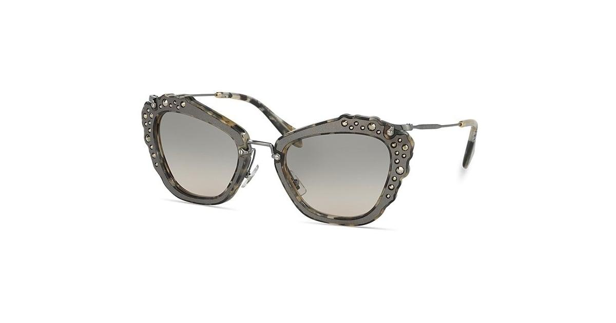 8e7478c0ae14 Miu Miu Embellished Cat Eye Sunglasses