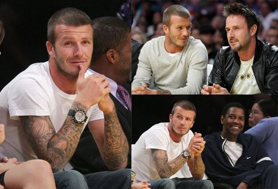 Photos of David Beckham, David Arquette and Francesca Leiweke at the Lakers Game