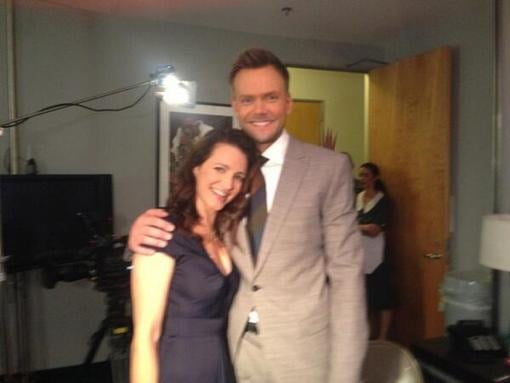 Kristin Davis posed with Joel McHale during a stop at the set of The Soup. Source: Twitter user joelmchale