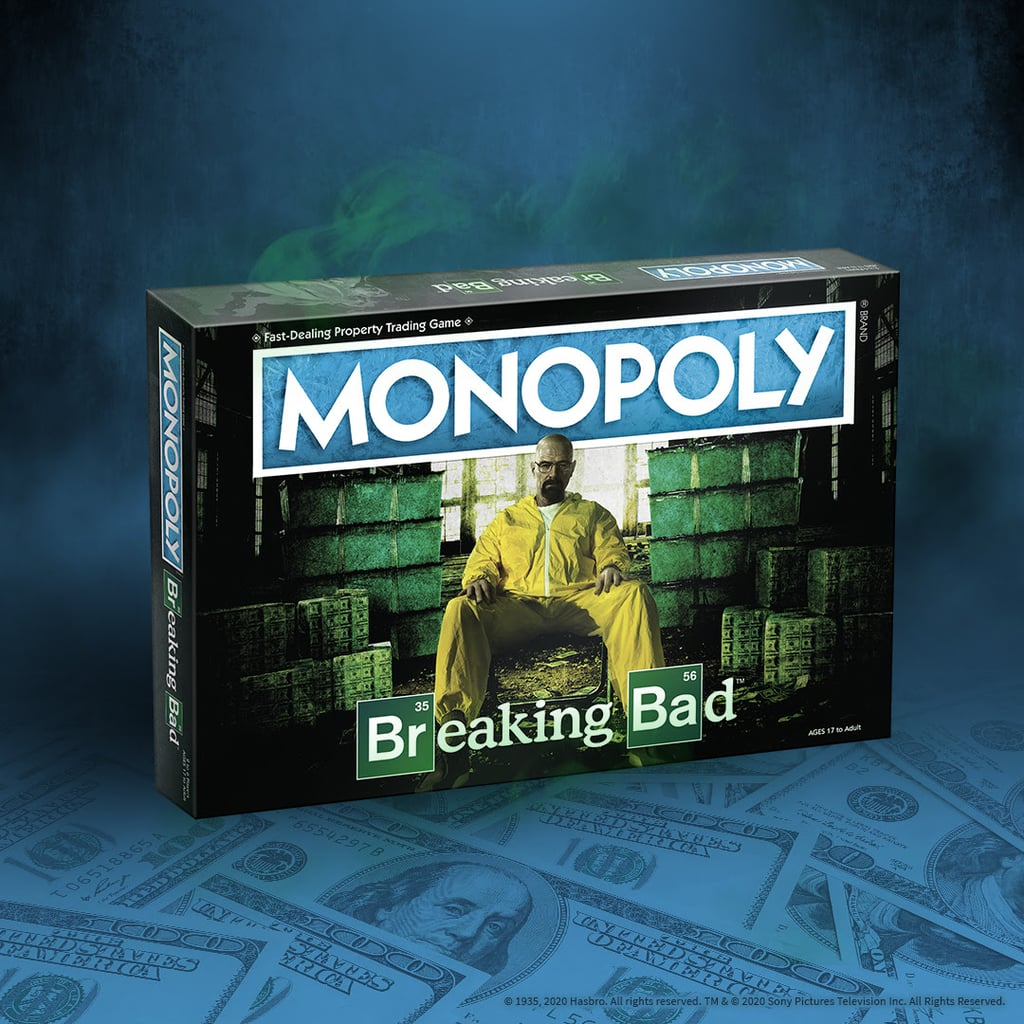 Breaking Bad fans, rejoice! An edition of Monopoly inspired by the iconic crime series is here, and the board is full of features that'll make you appreciate it all over again. Sony Pictures Consumer Products and Breaking Bad creator Vince Gilligan joined forces to create this epic version of the popular board game. Fans will love the Walter White and Heisenberg cards in place of the classic Community and Chance combination — not to mention cool custom tokens like a Gas Mask and Pink Teddy Bear.  Breaking Bad Monopoly is available now at local game stores and online retailers like Amazon. Get your own or grab one for your Jesse Pinkman-loving friend ahead before this collector's item sells out.      Related:                                                                                                           Explore Mini Versions of Disneyland and Walt Disney World With This Magical Monopoly Board