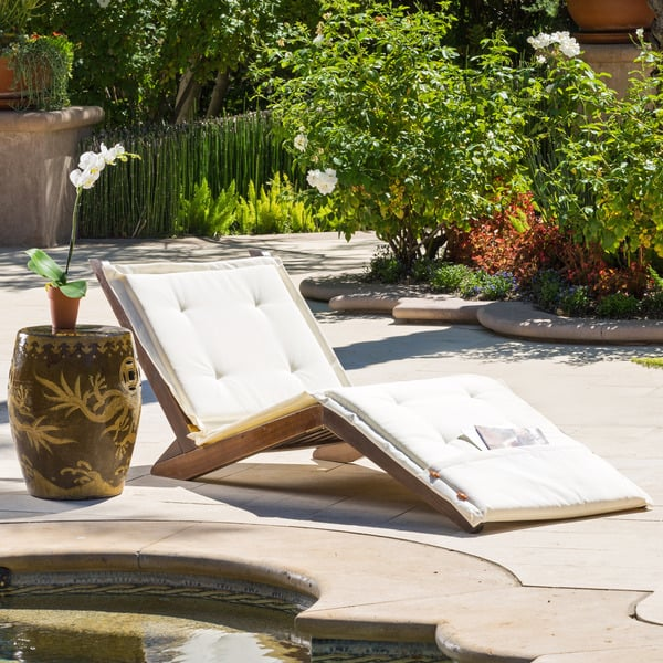 Wood Folding Lounger with Cushion ($175)