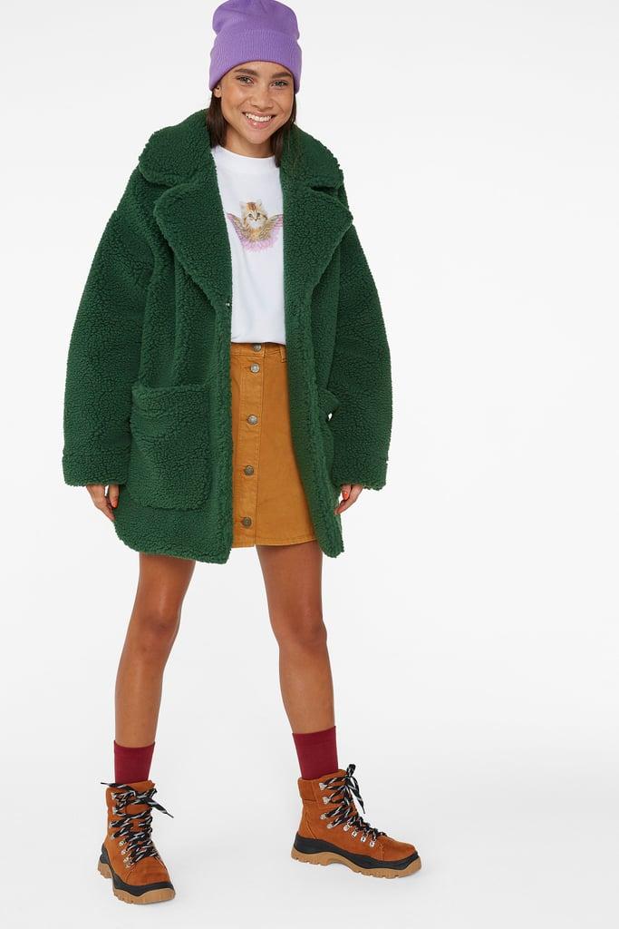 Monki Cares Oversized Faux Shearling Coat