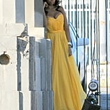 Jennifer Hudson posing for Vanity Fair in a yellow gown.