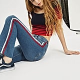 Topshop MOTO Jamie Side Stripe Flared Jeans