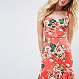 7397ead5c42 ... Print ASOS Mini Sundress With Lace-Up Back and Peplum Hem in Red Floral  ...