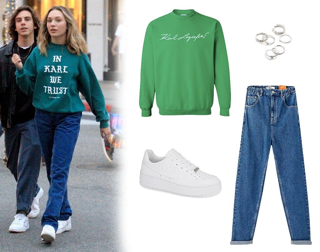 """Maddie Ziegler's Green """"In Karl We Trust"""" Vintage Sweatshirt"""