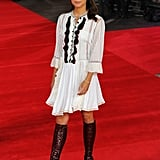 Alicia coveted a Louis Vuitton dress paired with daring leather boots at the London Premiere Testament of Youth.