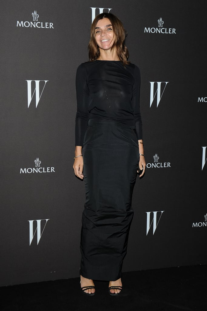 Carine Roitfeld arrived at W's party in a sleek, understated black gown.