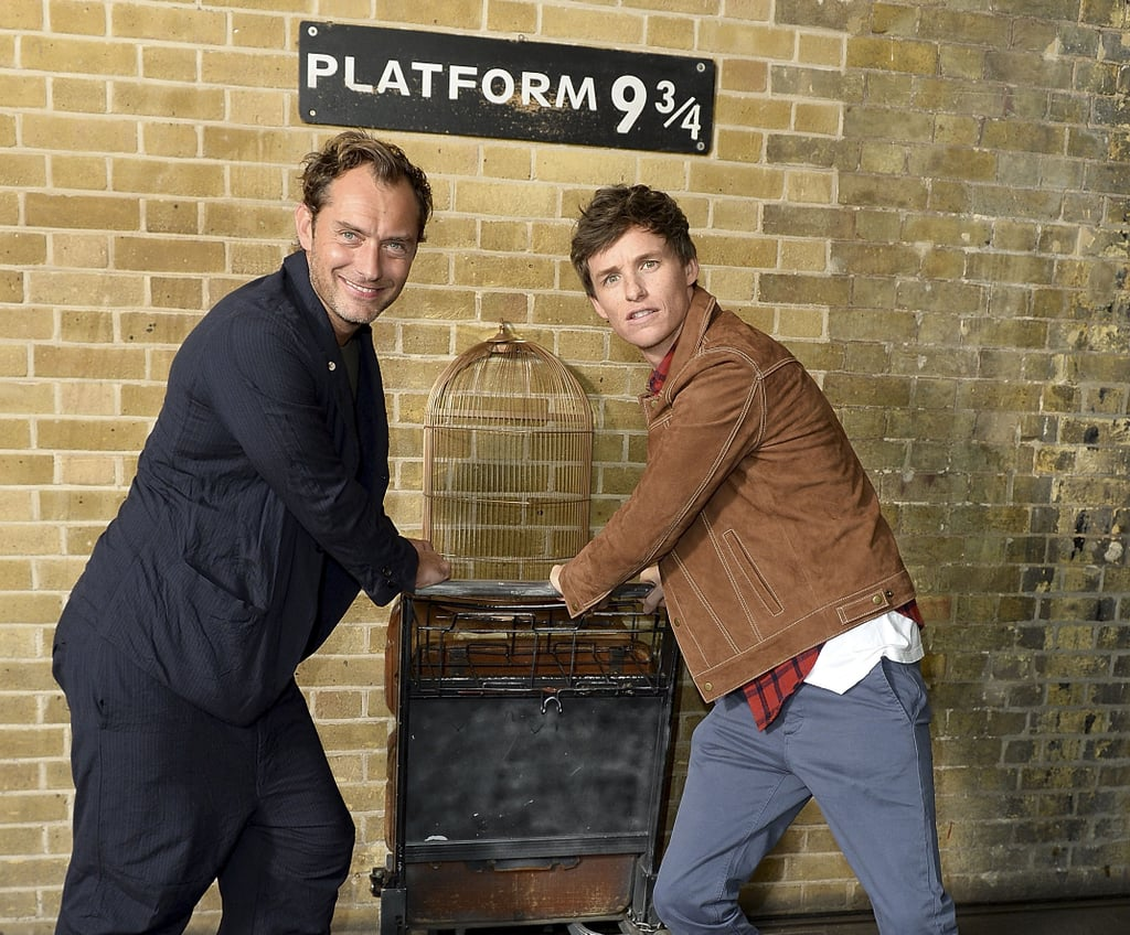 Jude Law and Eddie Redmayne at Kings Cross Station 2018