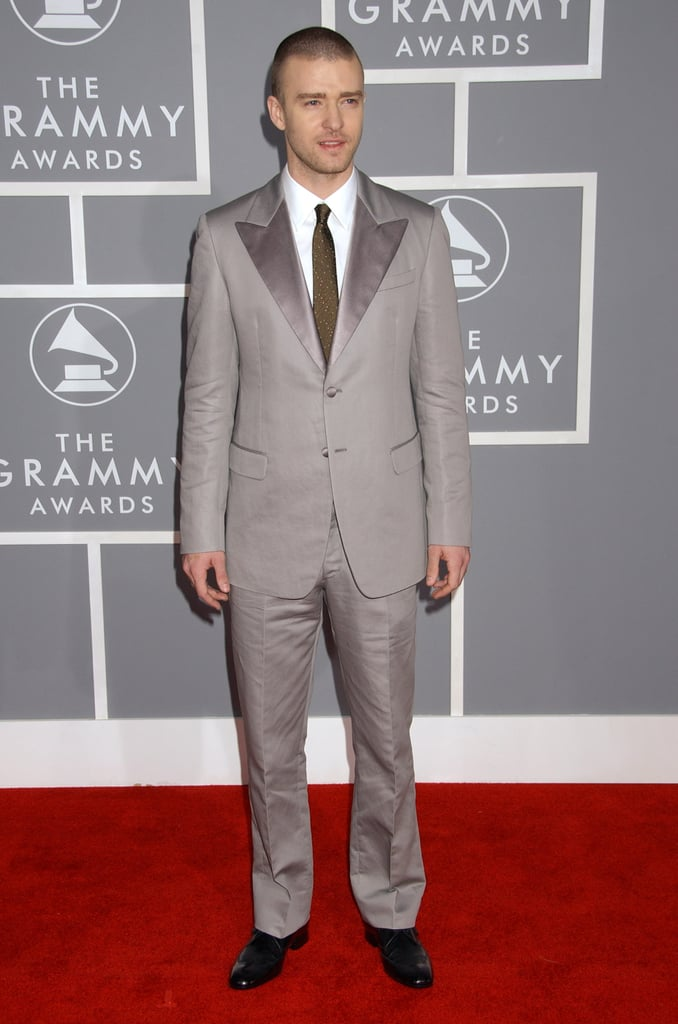 Justin hit the red carpet in a silvery-gray suit and tie at the Grammys in 2007.
