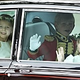 Bridesmaid Margarita Armstrong-Jones, pageboy Tom Pettifer, and bridesmaid Lady Louise Windsor waved as they arrived at Westminster Abbey.