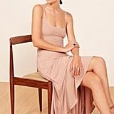 Reformation Rou Midi Fit & Flare Dress in Blush