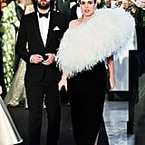 Charlotte Debuted Her Engagement Ring in This Lavish Feather Ensemble