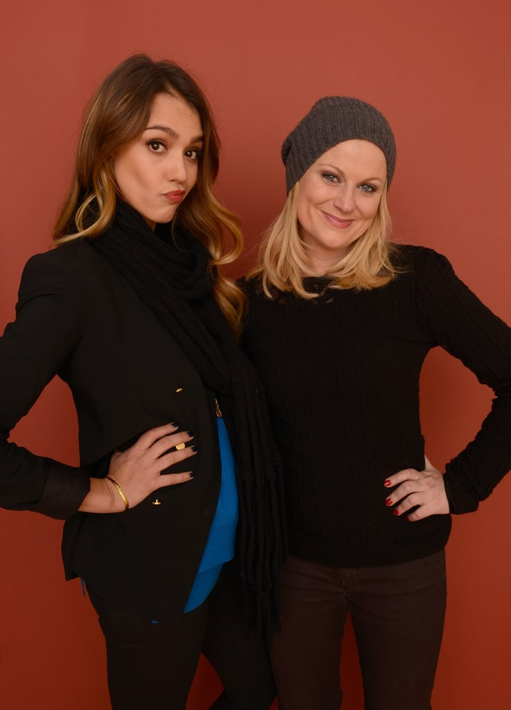 Amy Poehler and Jessica Alba got cute while posing for the camera at the Sundance Film Festival on Wednesday.