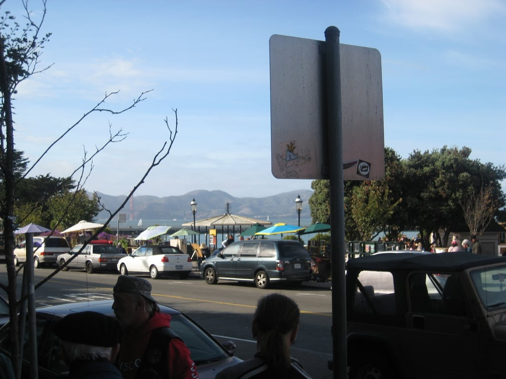 With the Golden Gate bridge in the background, the view from the cafe's front door.