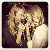 Stacy Keibler enjoyed some giggly girl time with a friend. Source: Instagram user stacykeibler