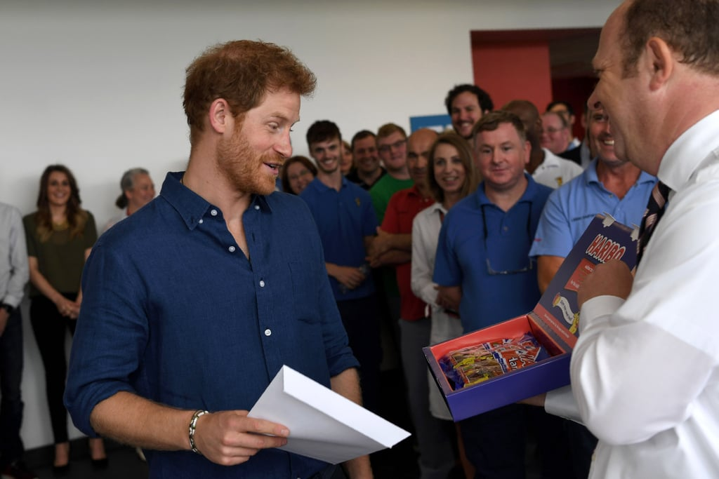 "During his recent two-day trip to Leeds, England, Prince Harry made a very, very important pit stop among visits to a children's hospital and charity fair. The royal went by a brand-new Haribo factory located in the neighboring town of Castleford. The man sure does know the key to our hearts: gummy bears!  While at the factory, Harry was taken on a guided tour of the facilities to see how these fruity treats are made. A vital detail that's 100 percent worth noting: he wore a hairnet shaped like a fedora while walking around the factory, while the employees were simply sporting regular ol' blue hairnets. Yep, he's just that cool. After scoping out the manufacturing process, the royal was gifted his own personalized box of goodies: ""Harry Mix,"" a collection of jelly-like candies shaped to resemble his face. Upon receiving these funny treats, which were unfortunately only created for him and will not be sold in stores, he admitted that he'd most likely be keeping them all for himself. ""Thank you very, very much. I will do my best to either eat them or . . . it may be a bit weird sharing these,"" he joked, according to Global News. Haribo gummies + Prince Harry = a match made in heaven. Read on to see footage from his factory visit, and be sure to take note of that epic hairnet."