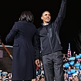 Together, the Obamas greeted an excited crowd for the president's last rally.