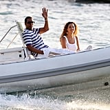 Jay-Z and Beyoncé Knowles made a smiley pair during a vacation in St. Barts in 2008.