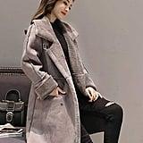 Shineflow Women's Lapel Faux Fur Fleece Lined Parka