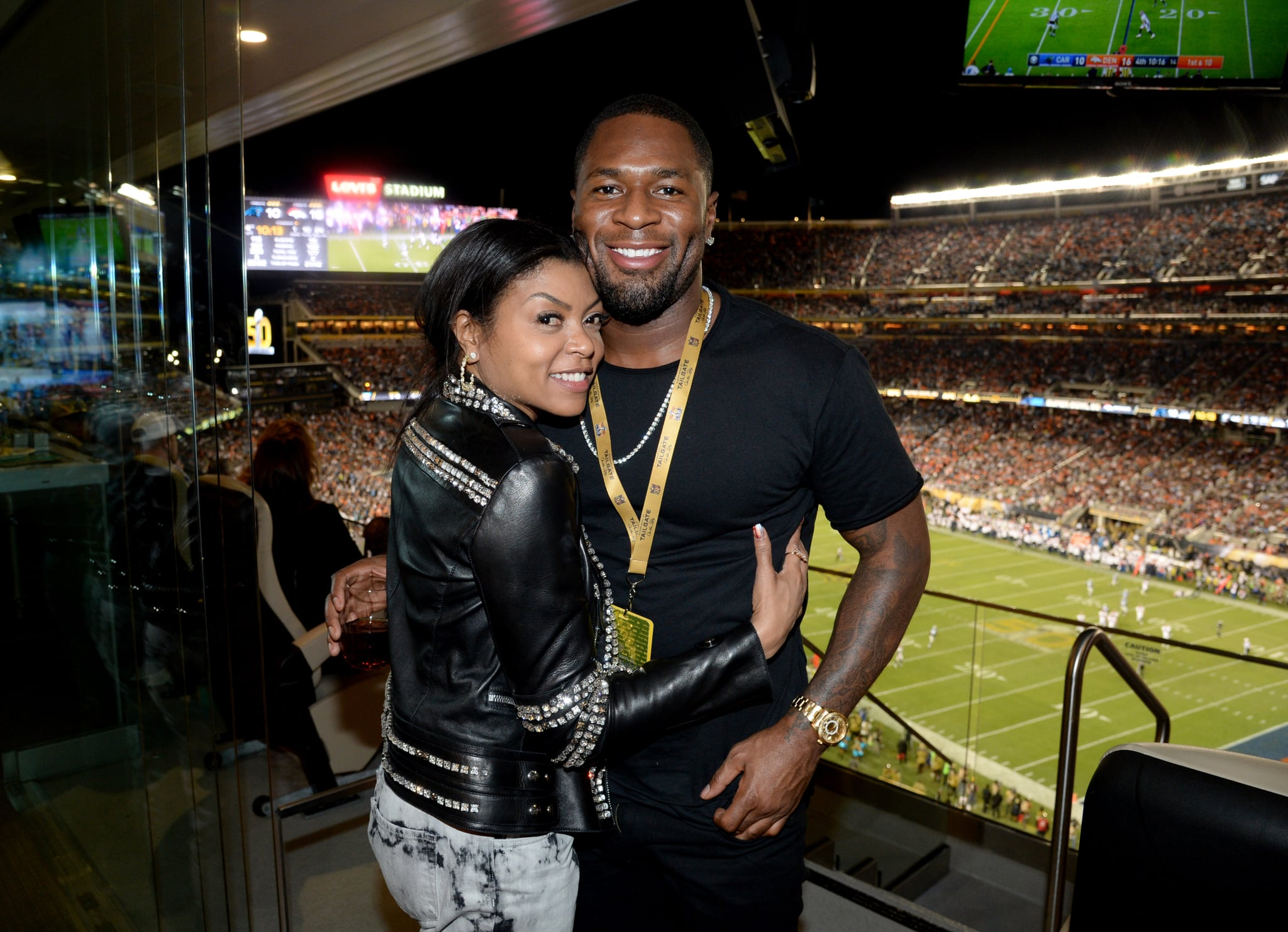 SANTA CLARA, CA - FEBRUARY 07:  Actress Taraji P. Henson (L) and NFL player Kelvin Hayden attend Super Bowl 50 at Levi's Stadium on February 7, 2016 in Santa Clara, California.  (Photo by Kevin Mazur/WireImage)