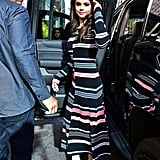 Fall staple: a long-sleeved ribbed striped dress by Kenzo. Selena wore it with: open-toed Trademark mules in cobalt in New York in October 2015.