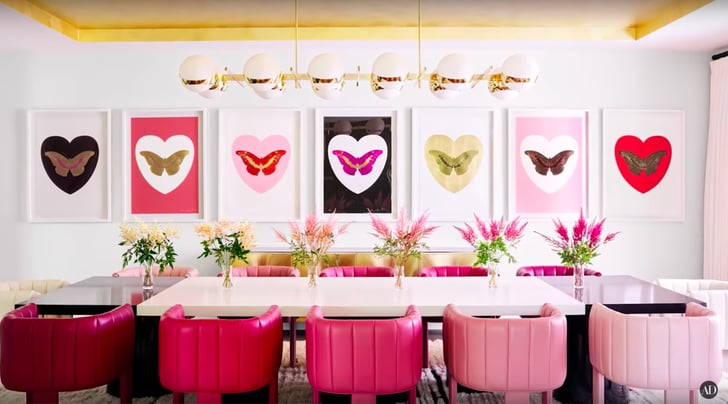 Kylie S Dining Room Features Ombre Leather Chairs A