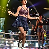Katy Perry played with a jump rope on stage.