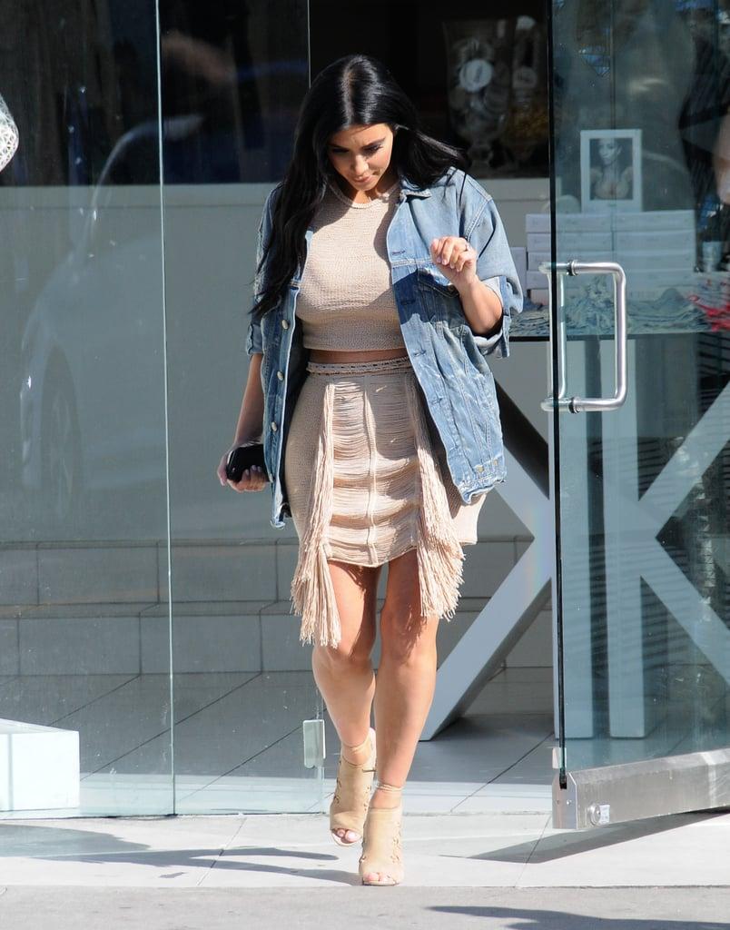 Kim Kardashian Put Her Baby Bump on Display in Fringe and a Crop Top