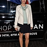 90210's Jessica Lowndes styled a classic white blazer and statement necklace with a sweet top-and-skirt combo underneath.