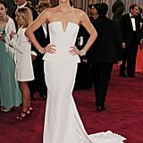In February 2013, Charlize Theron attended the Oscars in a stunning white frock.