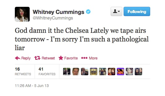 If Whitney Cummings is a pathological liar, does that mean her episode isn't actually airing when she says it is?