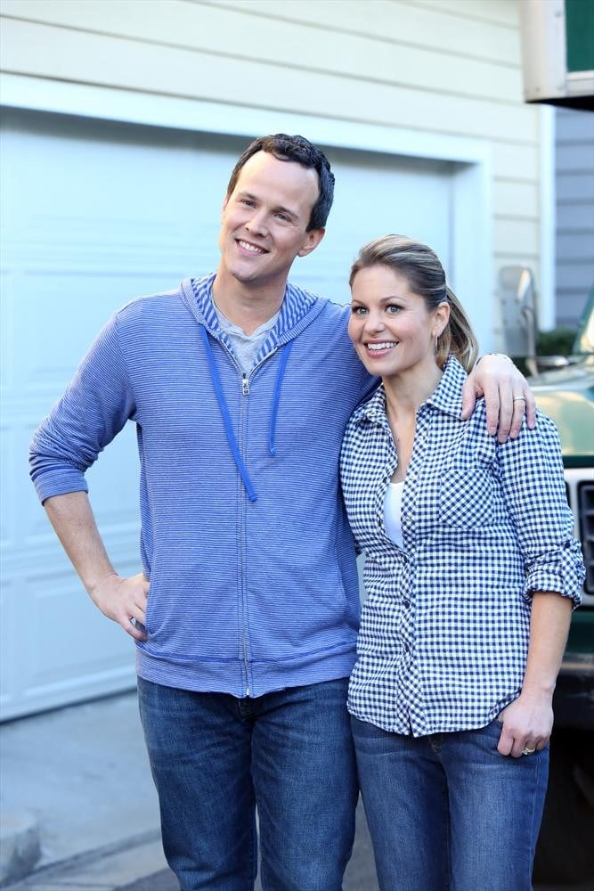 """POPSUGAR: So what was it like to be back on set with Scott? Did it bring back some old memories? Candace Cameron Bure: It absolutely did. We had so much fun. We have this quick little cameo at the end of the season finale, but I think the fans are going to love to see us back together. It was funny, because we actually start the scene and we're in a moving truck, and when the two of us sat in that moving truck, we immediately went, 'Oh my gosh, this feels like the Full House episode where Steve and DJ were in the cement truck and it went through the window.' It was the same configuration, and we were just laughing and had a great time. PS: The ending seemed sort of open — are you going to appear in any more episodes? CB: It is open-ended, and I'm not sure, because they don't have their season-three pickup yet. But if they get their pickup, it's definitely a possibility. PS: Do you have a favorite DJ and Steve moment? CB: The cement truck was pretty funny to me. There was one line — I don't even remember the episode — but Steve is writing something, and he blurts out, """"DJ, I love you!"""" And it's just a line that every time we'll see each other or any of the other cast members, it's the one line that he said that we always imitate."""