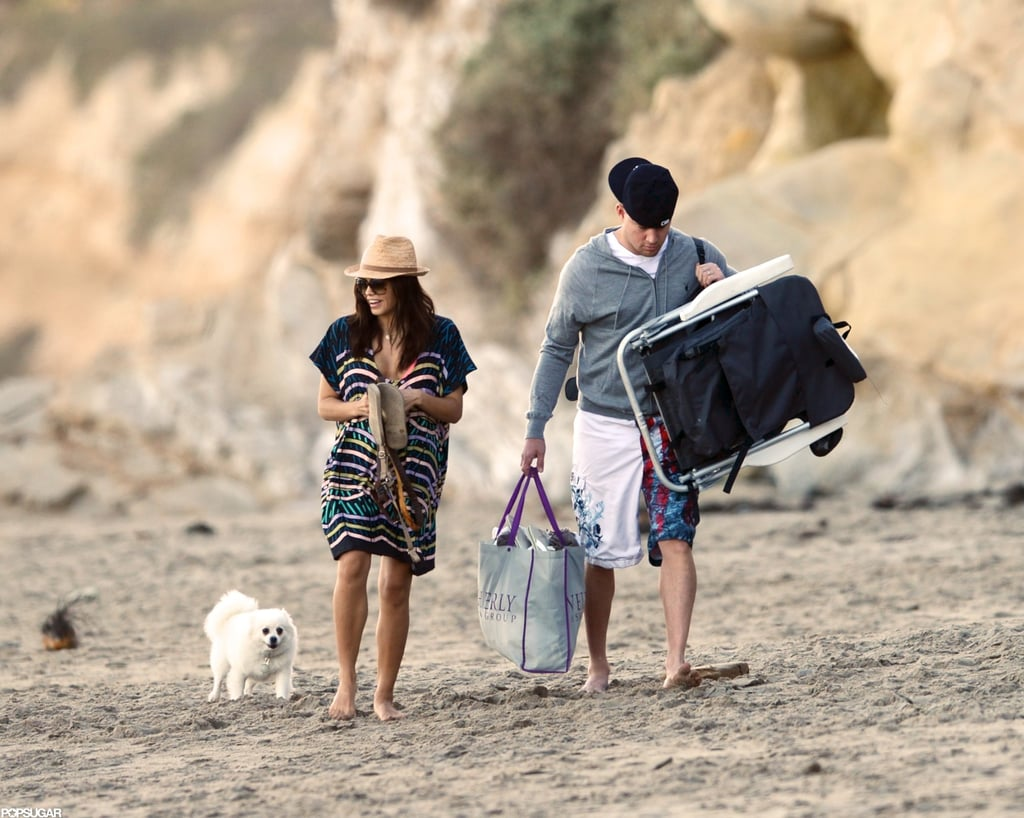 Channing Tatum and Jenna Dewan arrived at the beach.