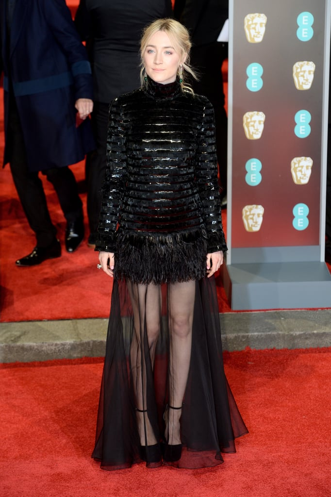 Saoirse Started the Evening Wearing Black Sandals