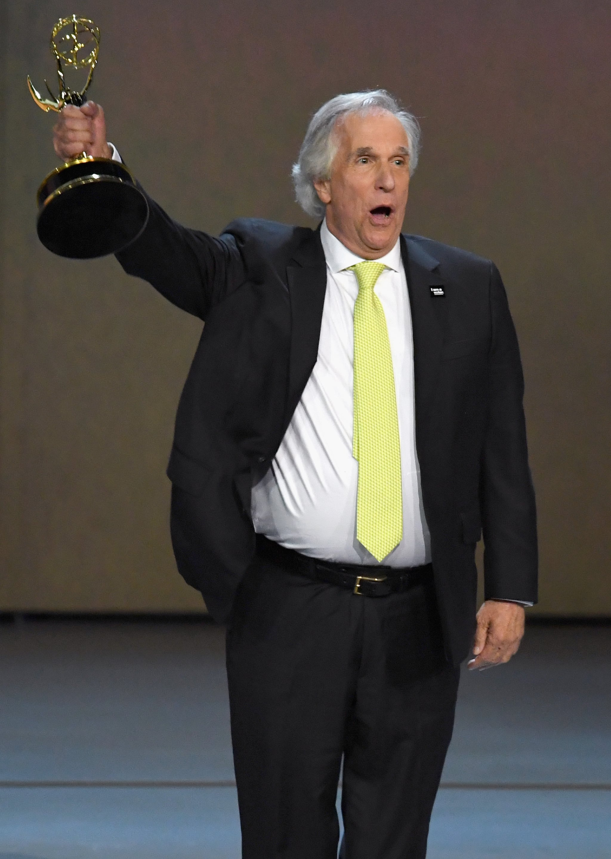 LOS ANGELES, CA - SEPTEMBER 17:  Henry Winkler accepts the Outstanding Supporting Actor in a Comedy Series award for 'Barry' onstage during the 70th Emmy Awards at Microsoft Theatre on September 17, 2018 in Los Angeles, California.  (Photo by Kevin Winter/Getty Images)