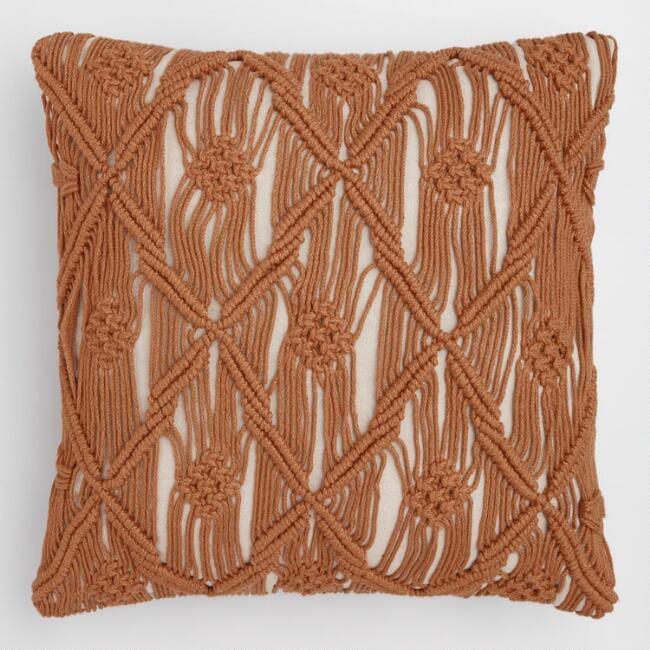 Saffron Macrame Indoor Outdoor Throw Pillow