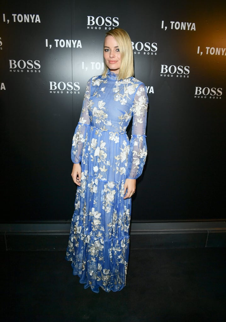 Margot's high-neck, floral Erdem dress came in the loveliest shade of blue. She finished the look with Tiffany & Co. jewels and Jimmy Choo shoes for the I, Tonya after-party in Toronto in September 2017.