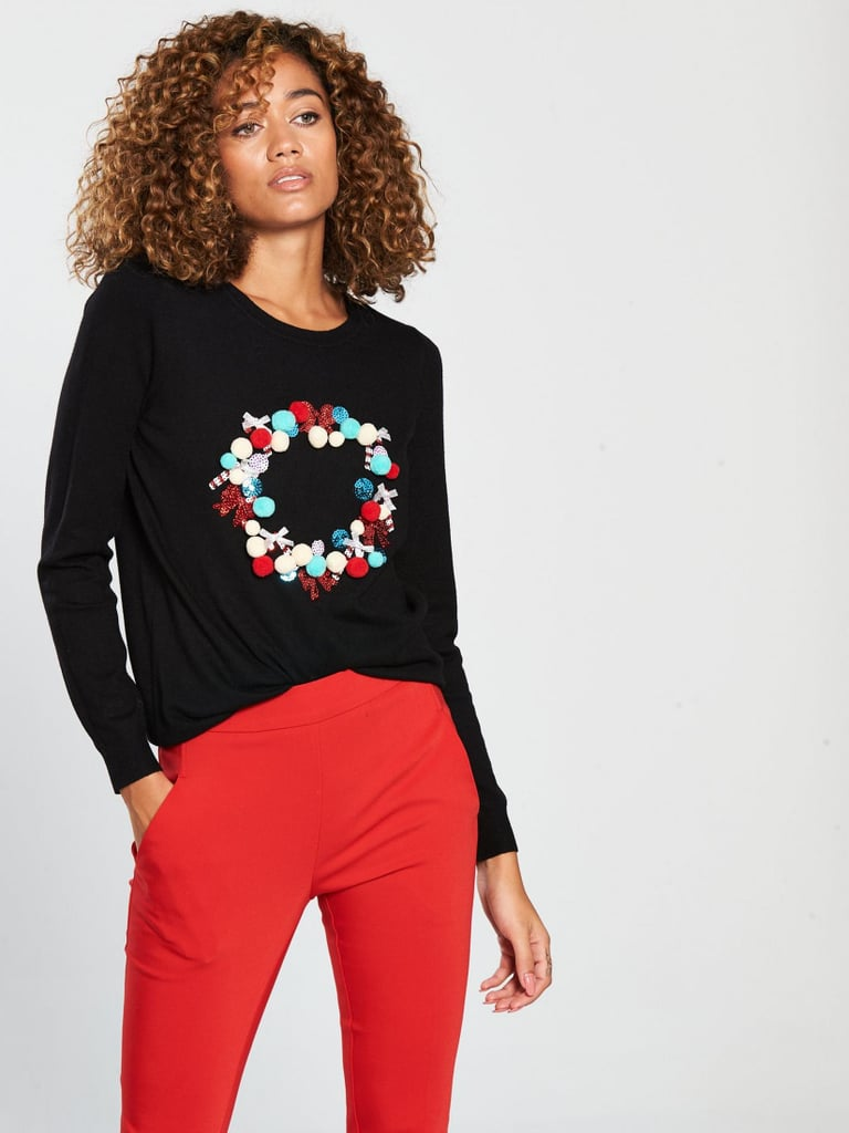 V by Very Pom Pom Christmas Wreath Jumper