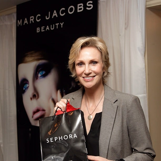 Marc Jacobs hooked Jane Lynch up with some swag before the show. Source: Instagram user marcbeauty