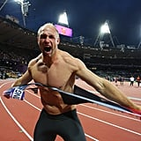 Germany's Robert Harting ripped his shirt off after winning gold in the men's discus throw.