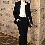 "For the 2017 Golden Globes, Evan once again turned to Altuzarra for a pantsuit. The actress sported a white pussycat blouse with her black two-piece set. ""I love dresses. I'm not trying to protest dresses. But I want to make sure that young girls and women know they aren't a requirement and that you don't have to wear one if you don't want to,"" she said on the red carpet. ""Just be yourself, because your worth is more than that."""